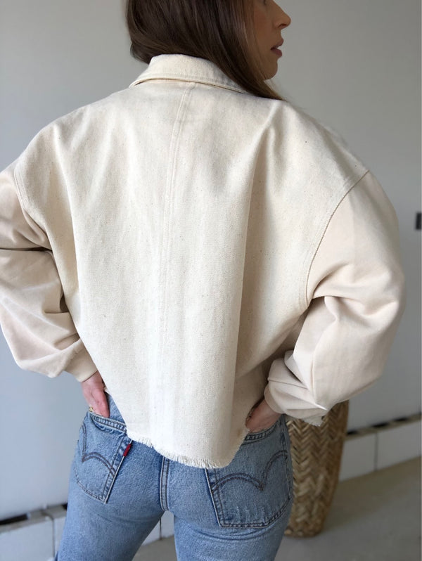 Danu Contrast Sleeves Denim Jacket | Cream
