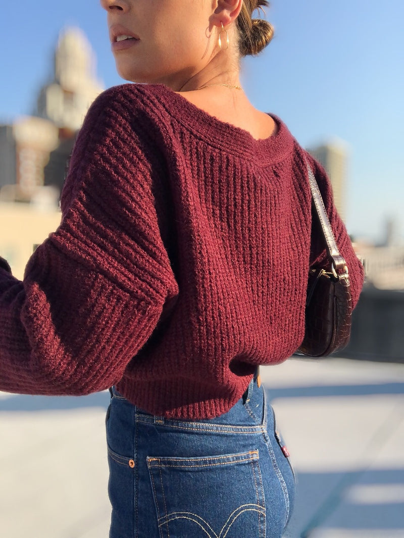 Evie Cropped Cardigan - Burgundy - amannequin - amannequin