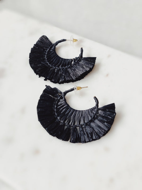 Lexus Raffia Hoop Earrings - Black-earrings-pannee-AMQN Boutique