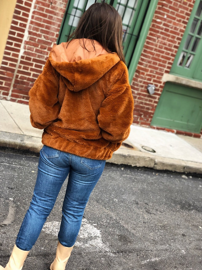 Caramel Hooded Faux Fur Bomber Jacket - Brown-jacket-etophe studios-AMQN Boutique