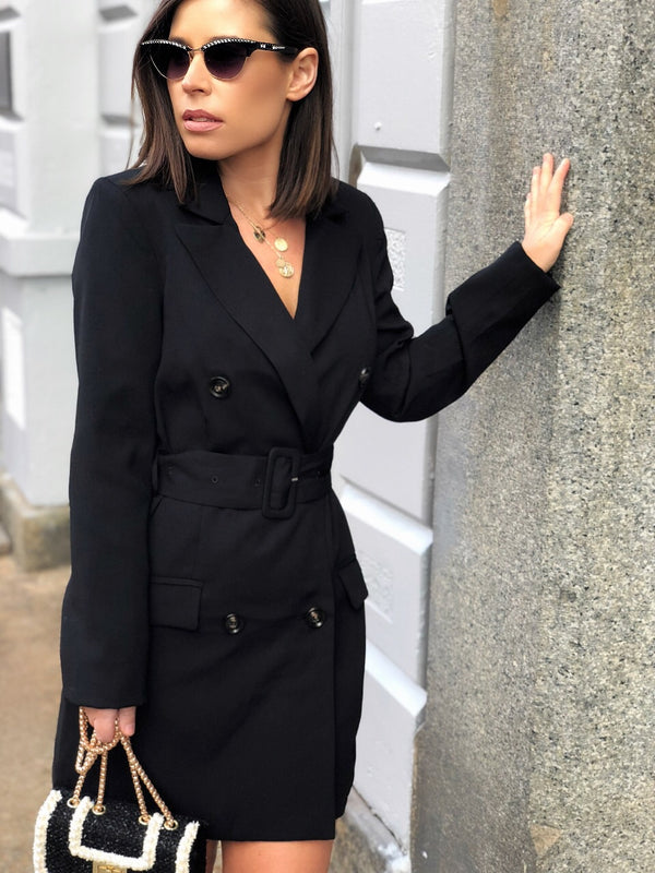 Dejavu Black Blazer Button Front Dress - amannequin - amannequin