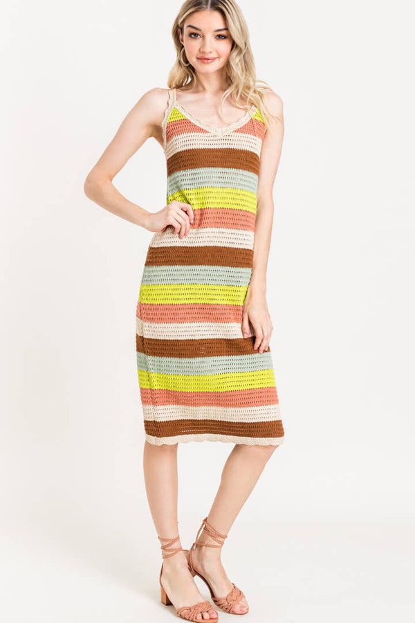Isla Striped Crochet Midi Dress