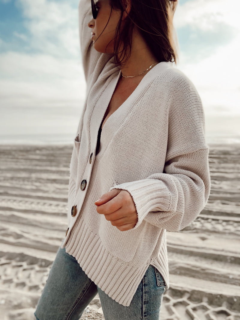 Myla Oversized Pocketed Cardigan - Ivory