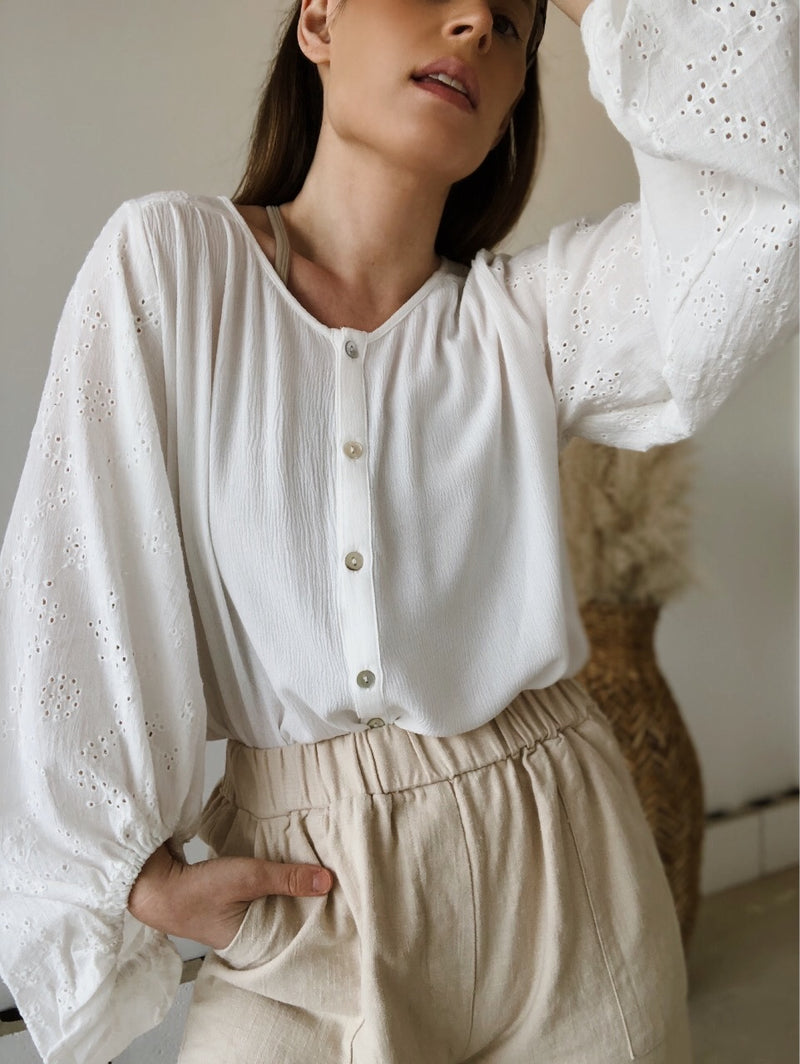 Romane Eyelet Puff Sleeve Top | White
