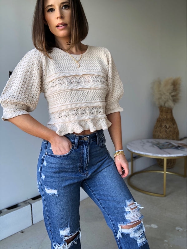 Lorna Puff Sleeve Knit Sweater Top | Oatmeal