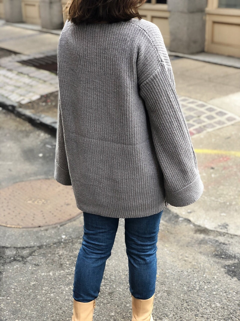 Morgan Gray Oversized Slouchy Sweater - amannequin - amannequin