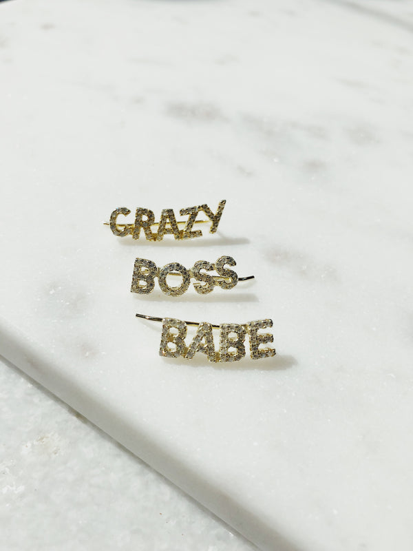 Crazy, Boss, Babe Sterling Silver CZ Ear Cuffs - Earrings - amannequin - amannequin