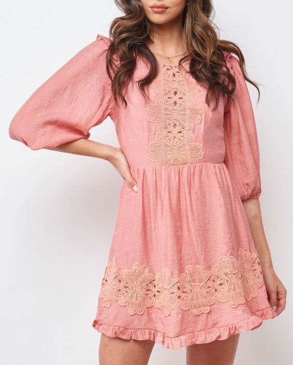 SAINTS & SECRETS EMBROIDERED PUFF SLEEVE DRESS - PINK