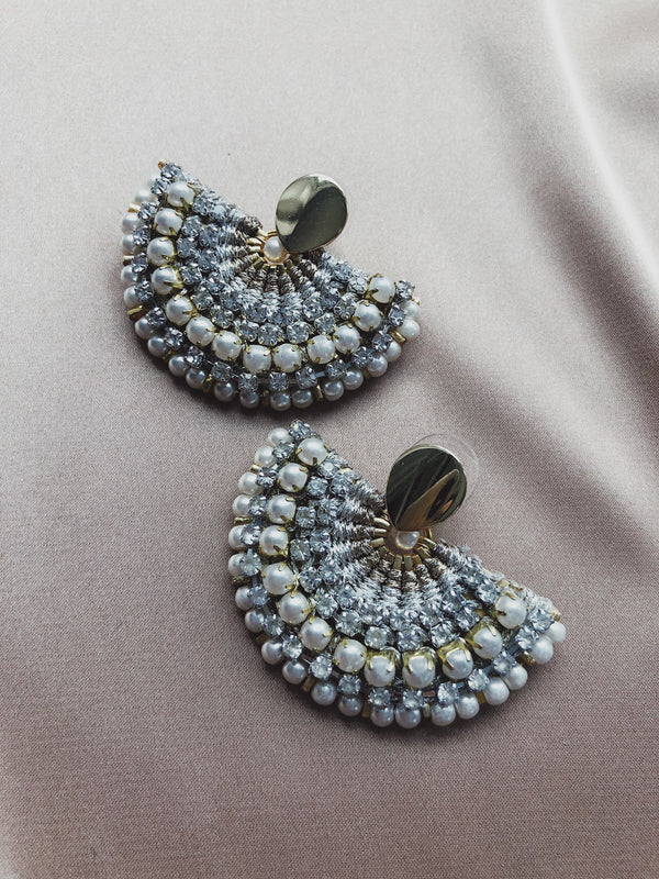 Mae Pearl & Rhinestone Half Moon Earrings - Gold