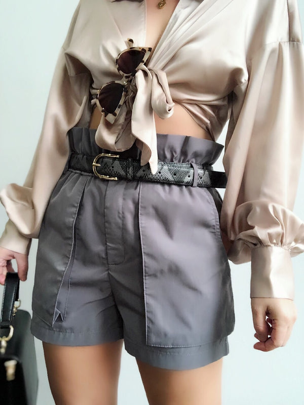 Taylor Gray Paper Bag Waist Patch Pocket Shorts - amannequin - amannequin