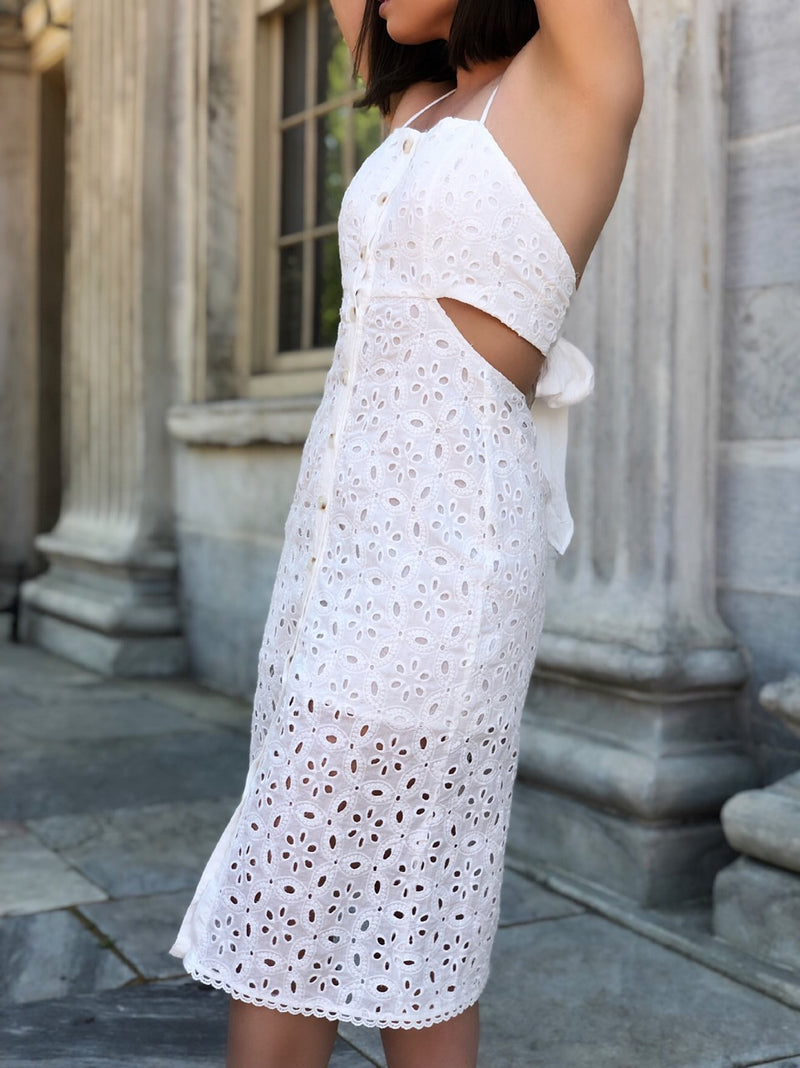 Marcella Off White Eyelet Midi Dress - amannequin - amannequin