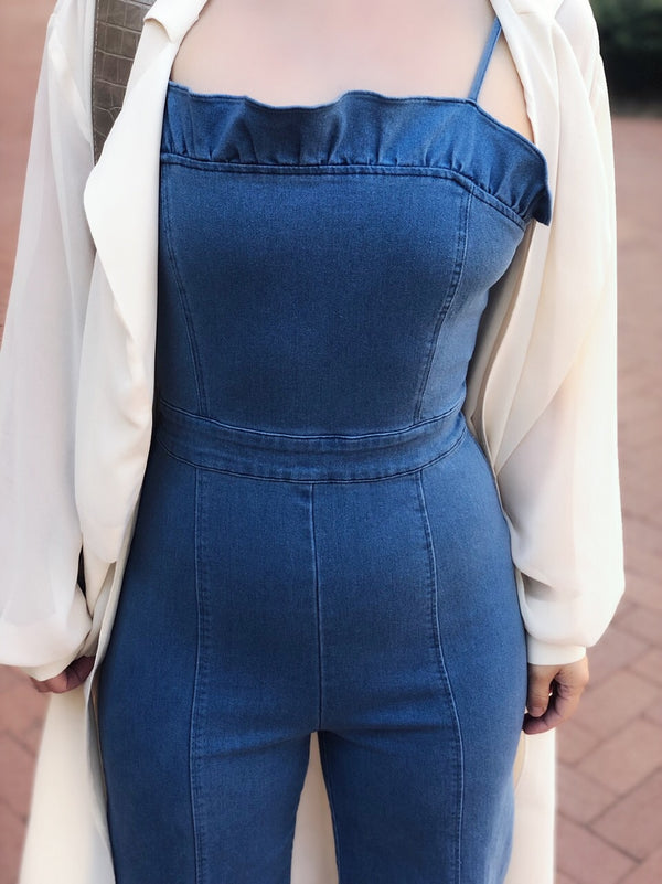 Monarch Blue Denim Cropped Jumpsuit - amannequin - amannequin
