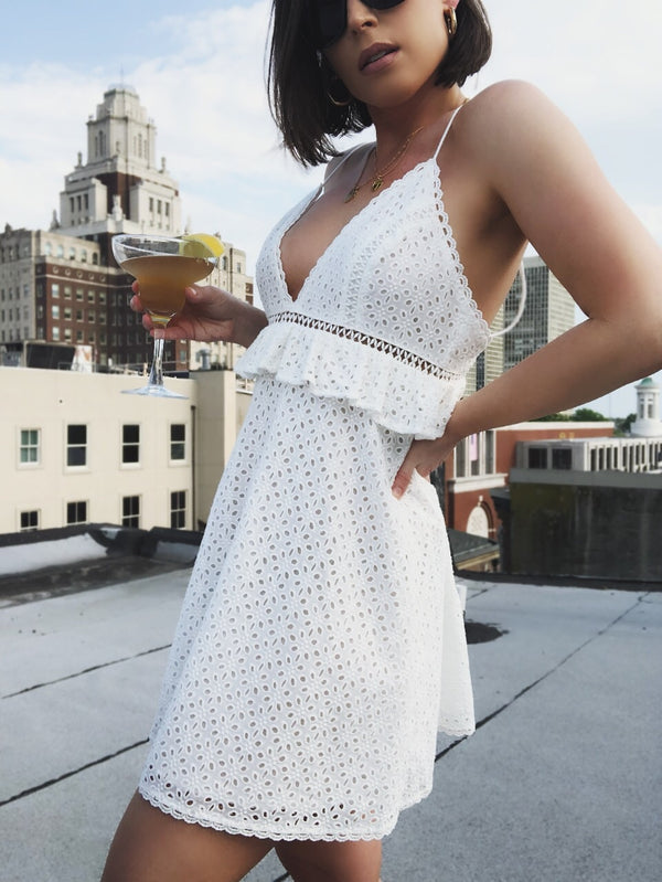 Meera Off White Eyelet Babydoll Dress-dress-Skylar Rose-AMQN Boutique