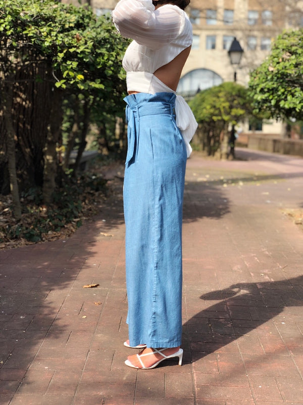 Blair Chambray Highrise Paper Bag Waist Wide Leg Cropped Pants-pants-flying tomato-AMQN Boutique