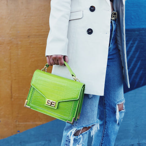 Bey Lime Green Croc Top-Handle Crossbody Handbag - amannequin - amannequin