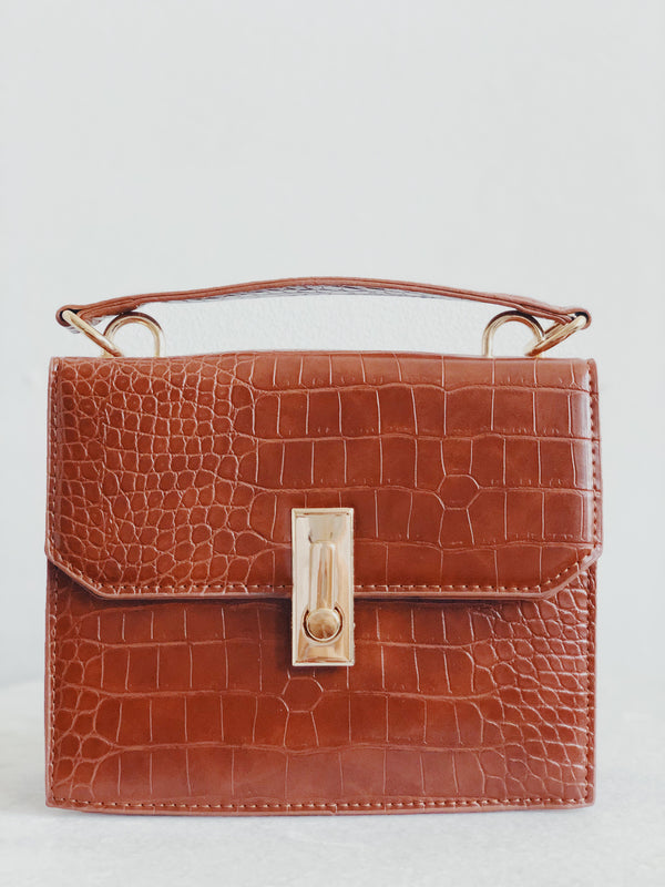 Erin Light Brown Croc Top-Handle Shoulder Handbag - amannequin - amannequin