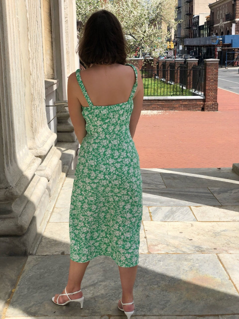 Nina Kelly Green Floral Midi Dress - amannequin - amannequin