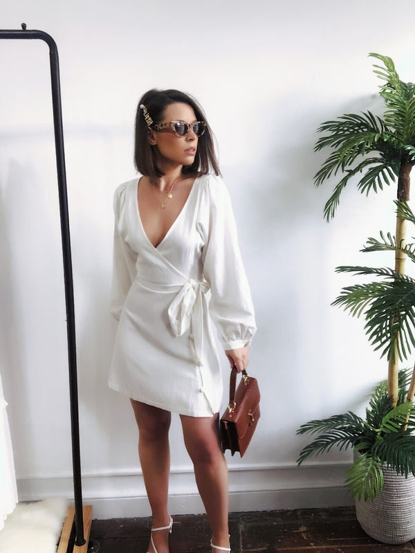 Novella Off White Linen Puff Sleeve Dress - amannequin - amannequin