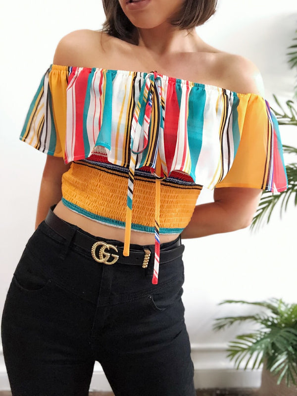Avalon Smocked Off the Shoulder Striped Crop Top - amannequin - amannequin