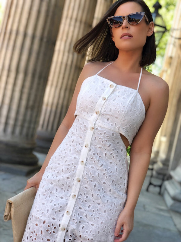 Marcella Off White Eyelet Midi Dress-dress-Skylar Rose-AMQN Boutique