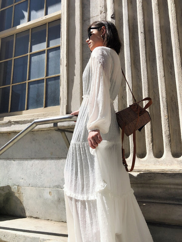 Sera Off White Boho Victorian Maxi Dress - amannequin - amannequin