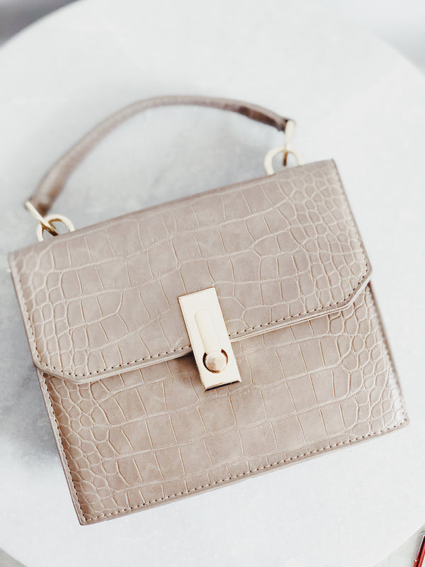 Erin Taupe Croc Top-Handle Shoulder Handbag - amannequin - amannequin