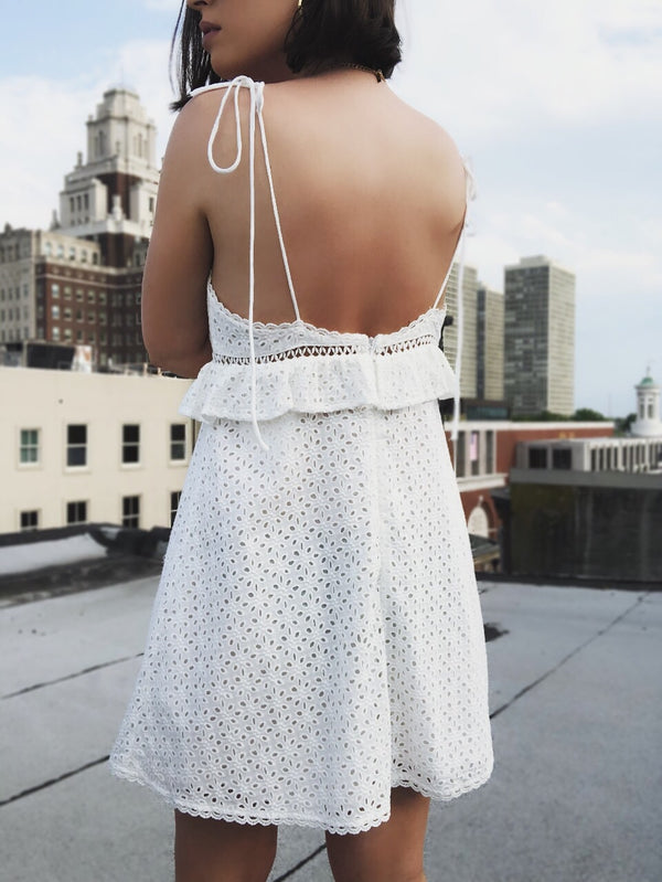 Meera Off White Eyelet Babydoll Dress - amannequin - amannequin