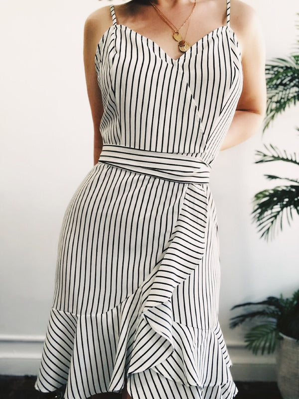 Darling Ivory & Black Striped Mini Faux Wrap Dress - amannequin - amannequin