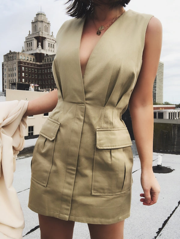 Shanni Beige Deep V Utility Dress-dress-Skylar Rose-AMQN Boutique