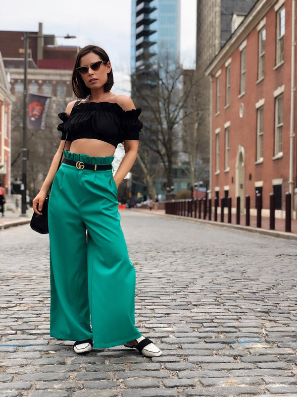 Bede Green High Waisted Wide Leg Cropped Culotte Pants - amannequin - amannequin