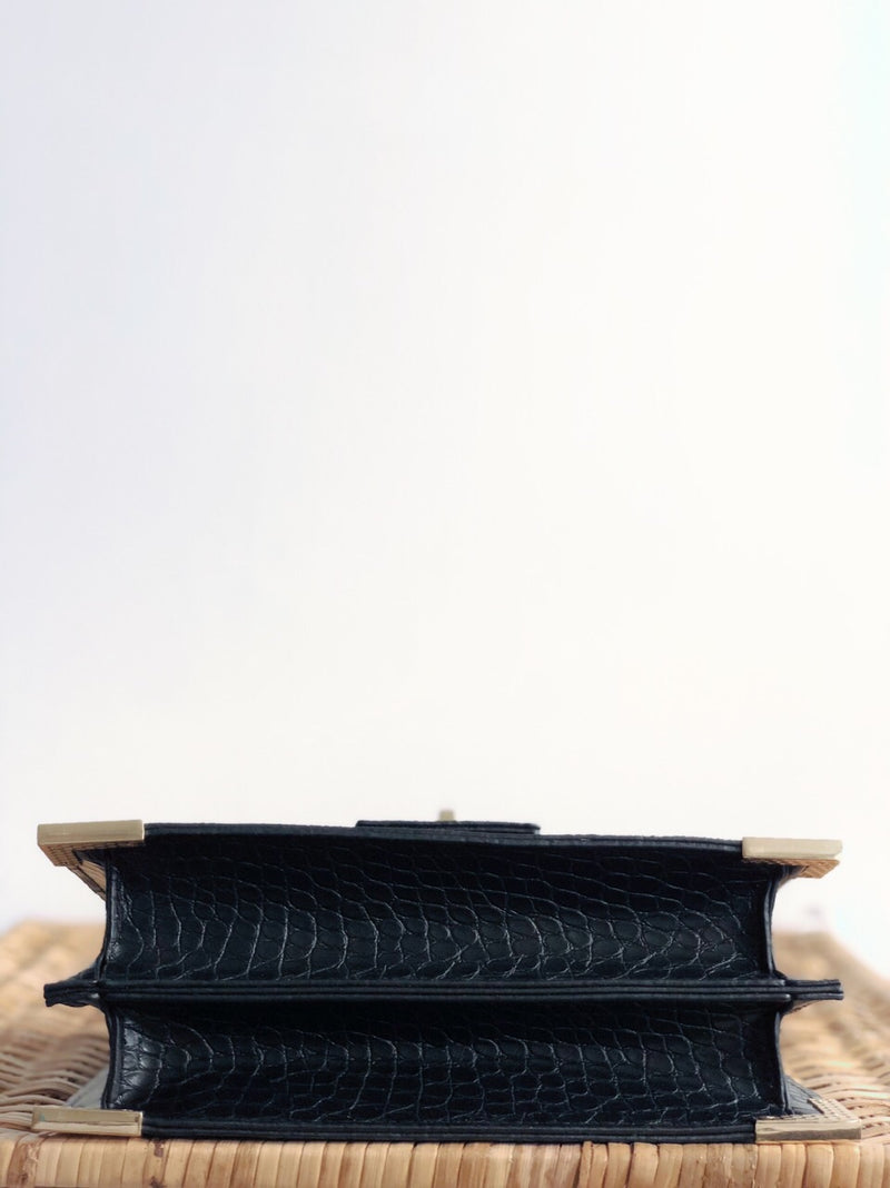 Bey Black Croc Top-Handle Crossbody Handbag - amannequin - amannequin