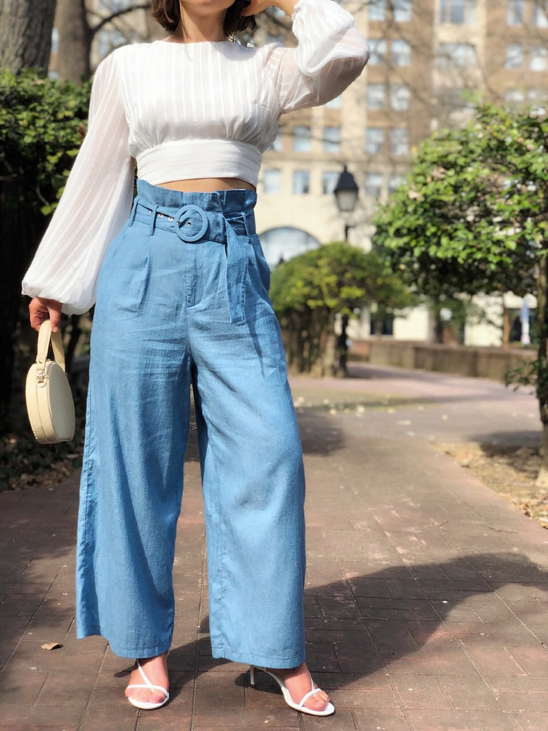 Blair Chambray Highrise Paper Bag Waist Wide Leg Cropped Pants - amannequin - amannequin