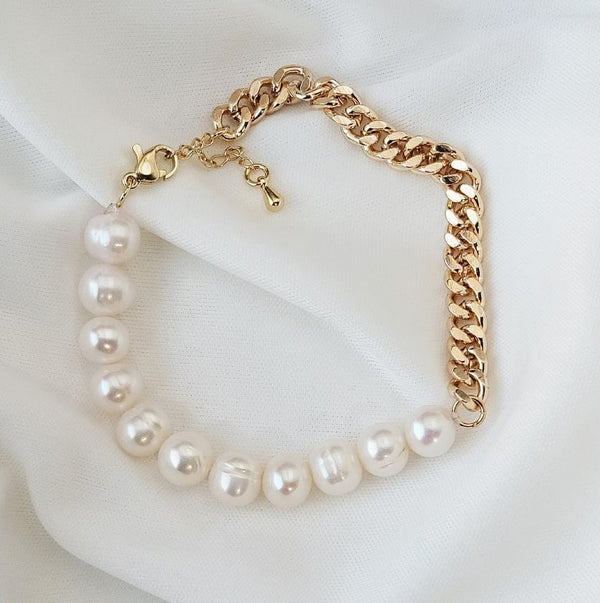 Isabella Pearl Chain Bracelet - Gold