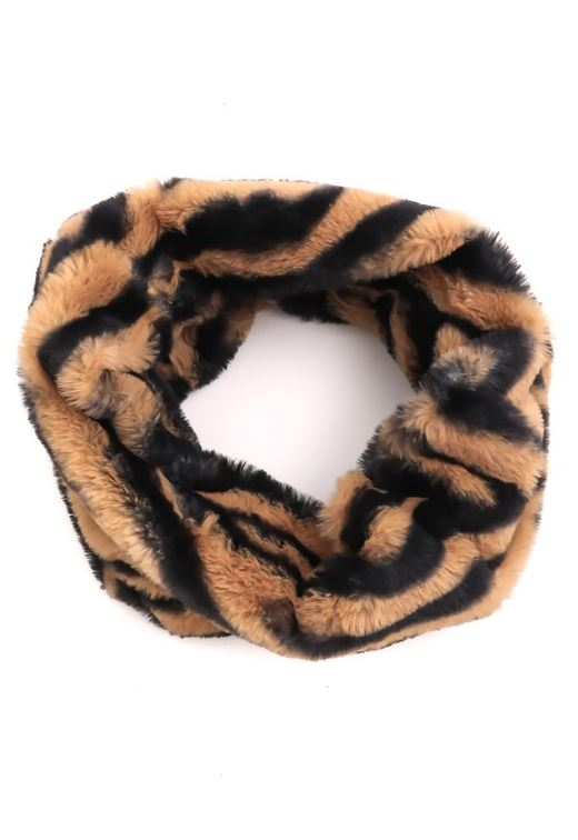Janet Animal Print Faux Fur Infinity Scarf - Tiger