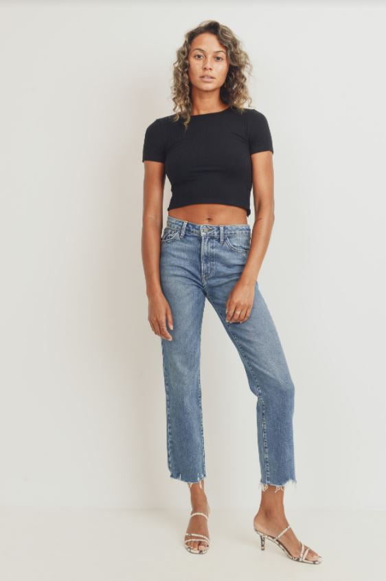 Finley The Vintage Straight High Rise Jeans - Blue