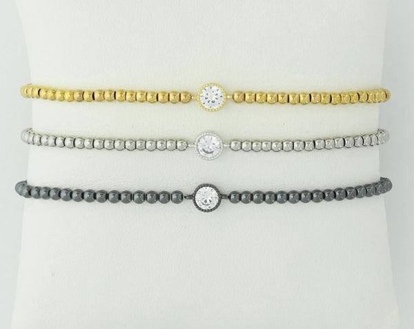 Marcie Gold Stainless Steel Bead Bracelet - 3mm