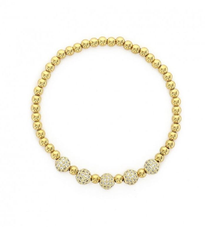 Maya Micro Pavé Stainless Steel Beaded Stretch Bracelet - Gold