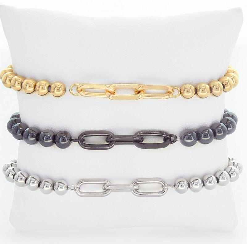Thora Three Chain Link Stainless Steel Bracelet - Gold