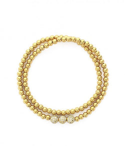 Sara Stainless Steel Beaded Double Wrap Stretch Bracelet - Gold