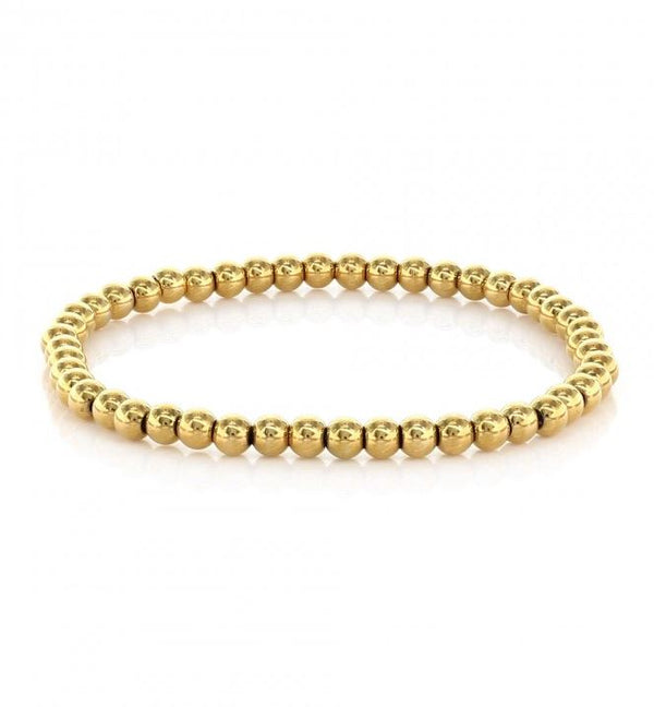 Alyssa Gold Stainless Steel Beaded Bracelet - 4mm