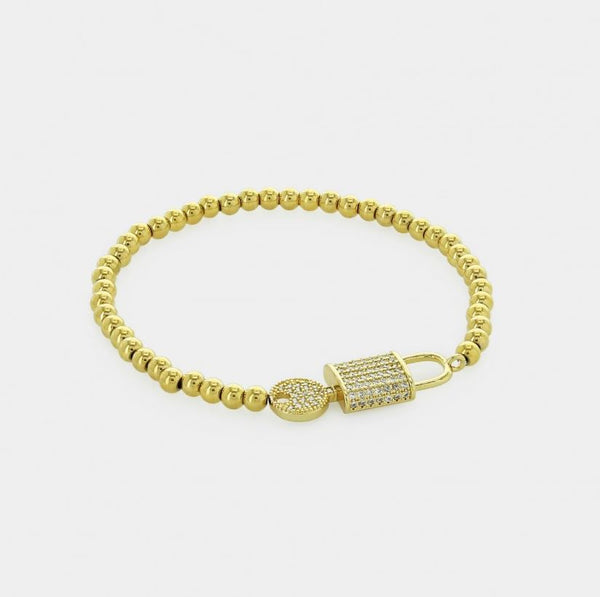 Juliana Lock & Key Gold Stainless Steel Beaded Bracelet - 4mm
