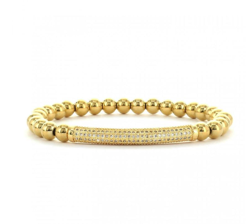 Dede Gold Bead Pave Bracelet - 6mm