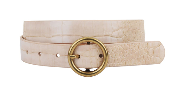 Daniela Round Buckle Leather Croc Belt