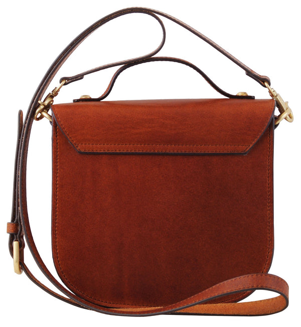 Brooke Leather Mini Saddle Bag - Brown