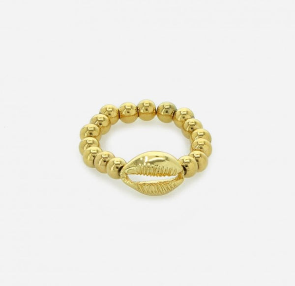 Veronica Gold Sea Shell Stainless Beaded Steel Ring - 4mm