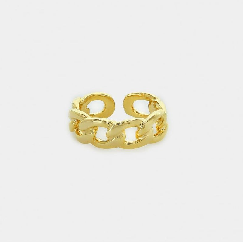 Nicole Gold Wide Cuban Chain Link Ring - One Size