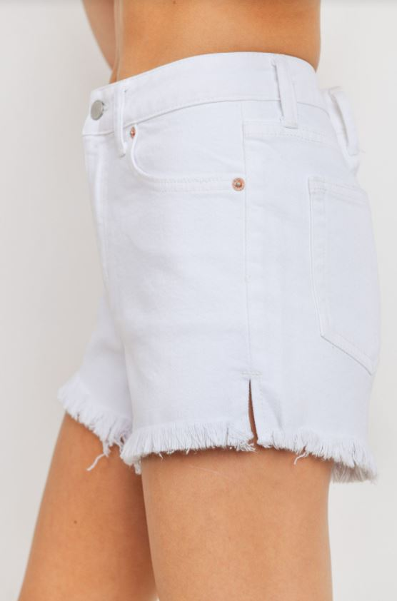 Viki High Rise Clean Shorts | White