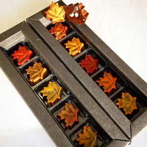 Fall leaves with caramelized pecans