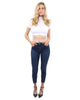 Talus High Waisted Skinny Jeans - Dark Blue