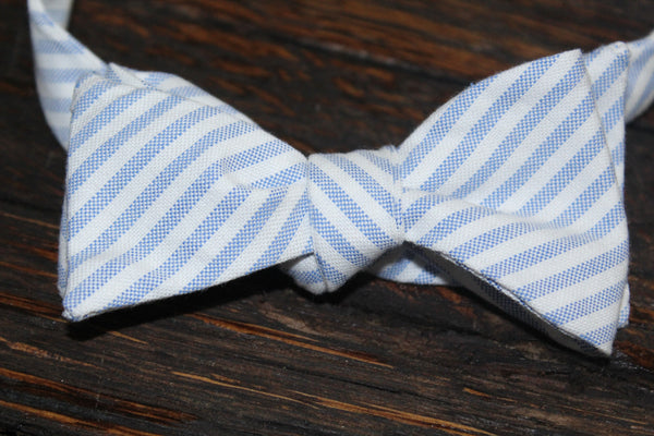 Blue Striped Debutante Bow Tie